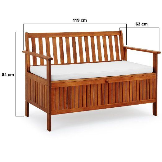 Wooden Garden Bench 2 Seater With Storage Chest Made Of Hardwood