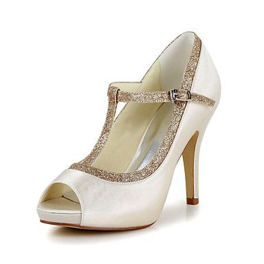 Satin Damen Hochzeit Pfennigabsatz Peep Toe Pumps / Absatz-Schuhe (weitere Farben) – EUR € 41.24