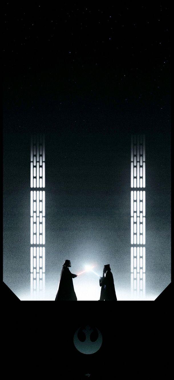 Star Wars Darth Vader And Obi Wan Combat Iphone 6 Wallpaper Illustrations De Star Wars Photoshop Star Wars