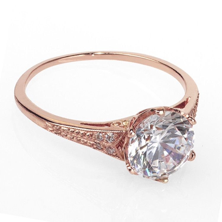 Rose Gold Vintage Style Engagement Ring Finest Selection Of Rings In Nyc Catherine