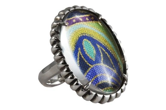 Solid Sterling Silver Material Girl ring with a carefully selected piece of multi-coloured pattern material behind the Quartz stone.