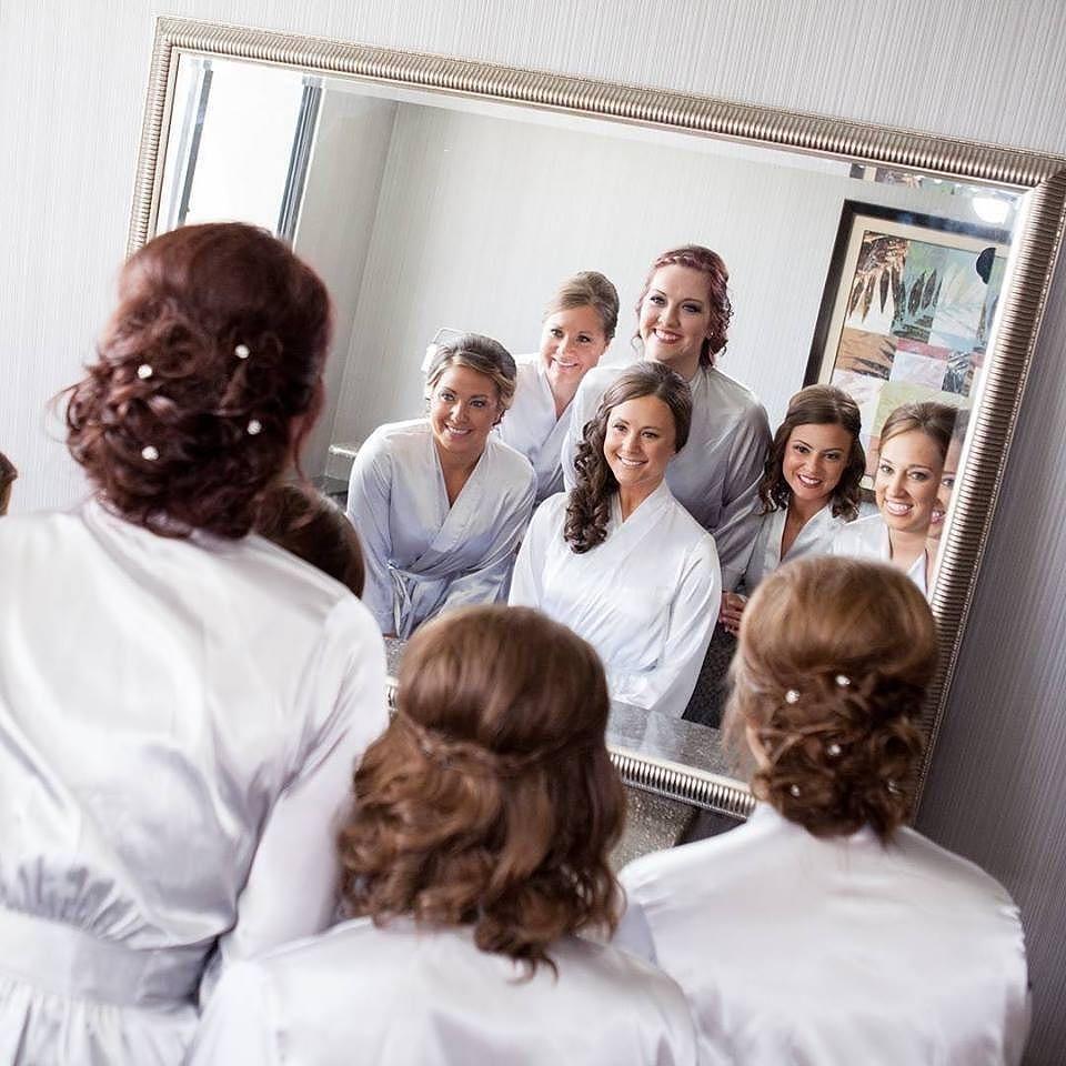 Matching maids in robes from @weddingprepgals! #bridesmaids #weddingday #wedding #robes #gifts #favors #bridalparty #bride #bridal #love  via @angela4design