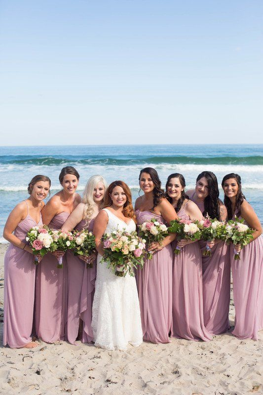 Dusty Rose Bridesmaid Dresses  Long, Chiffon Bridesmaid Dresses   Perfect  For A Beach Wedding