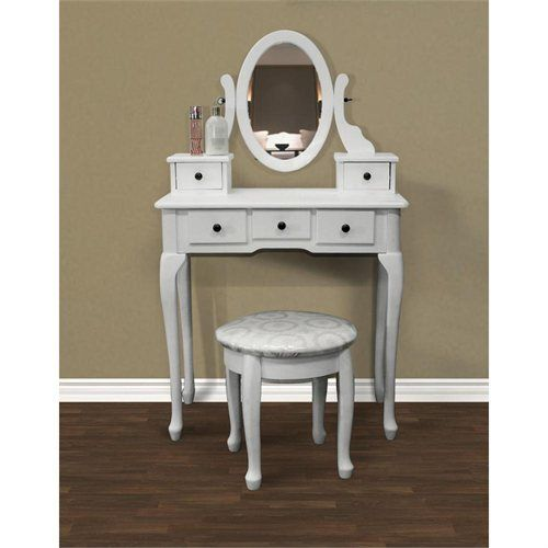 New White Vanity Table Set Jewelry Armoire Makeup Desk Bench