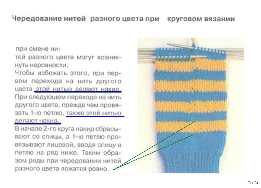 вязание спицами переход с одного цвета на другой вязание спицами