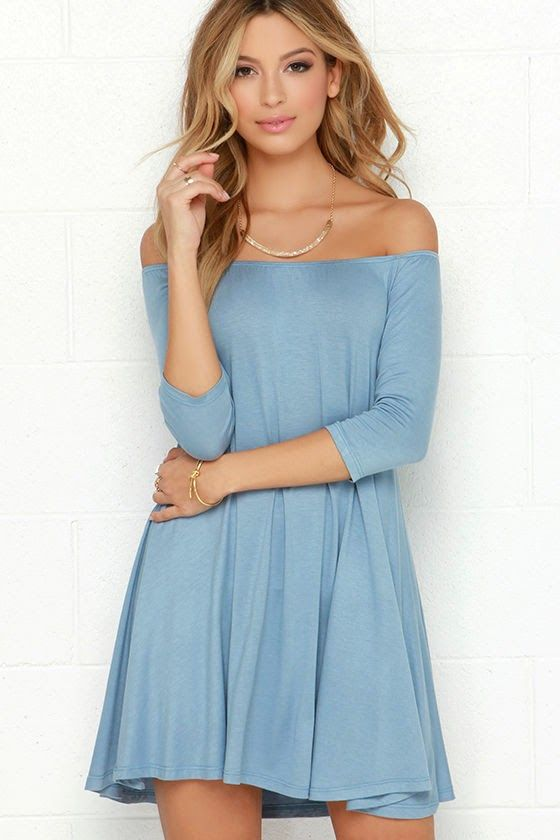 Rock the Bateau Light Blue Off-the-Shoulder Dress | vestidos | Pinterest