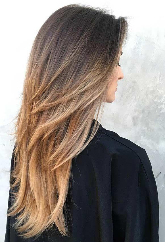 Haarschnitt langes Haar #stufenschnitt #stufen #glattehaare #ideen #förmigehaar