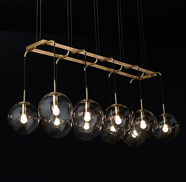 """RH Modern's Languedoc Linear Chandelier 72"""":The character of 1960s French lighting is captured in this chandelier from renowned…"""