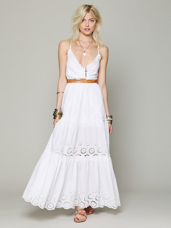 Amazing This dress would be perfect for a beach wedding Ophelia Eyelet Maxi Dress by