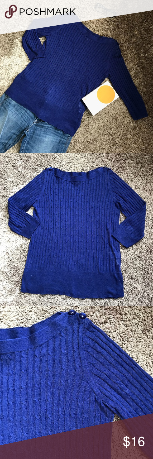 Royal Blue Cable Knit Sweater from Jones New York