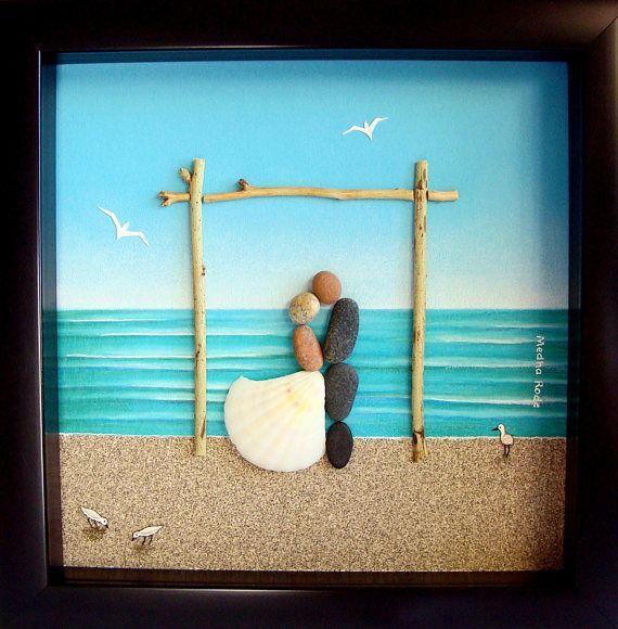 Beach Wedding Gift Pebble Art Bride And Groom Best
