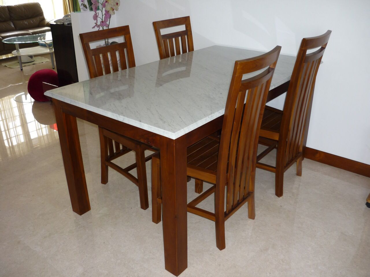 Marble And Teak Dining Set Teak Dining Table Teak Furniture Dining