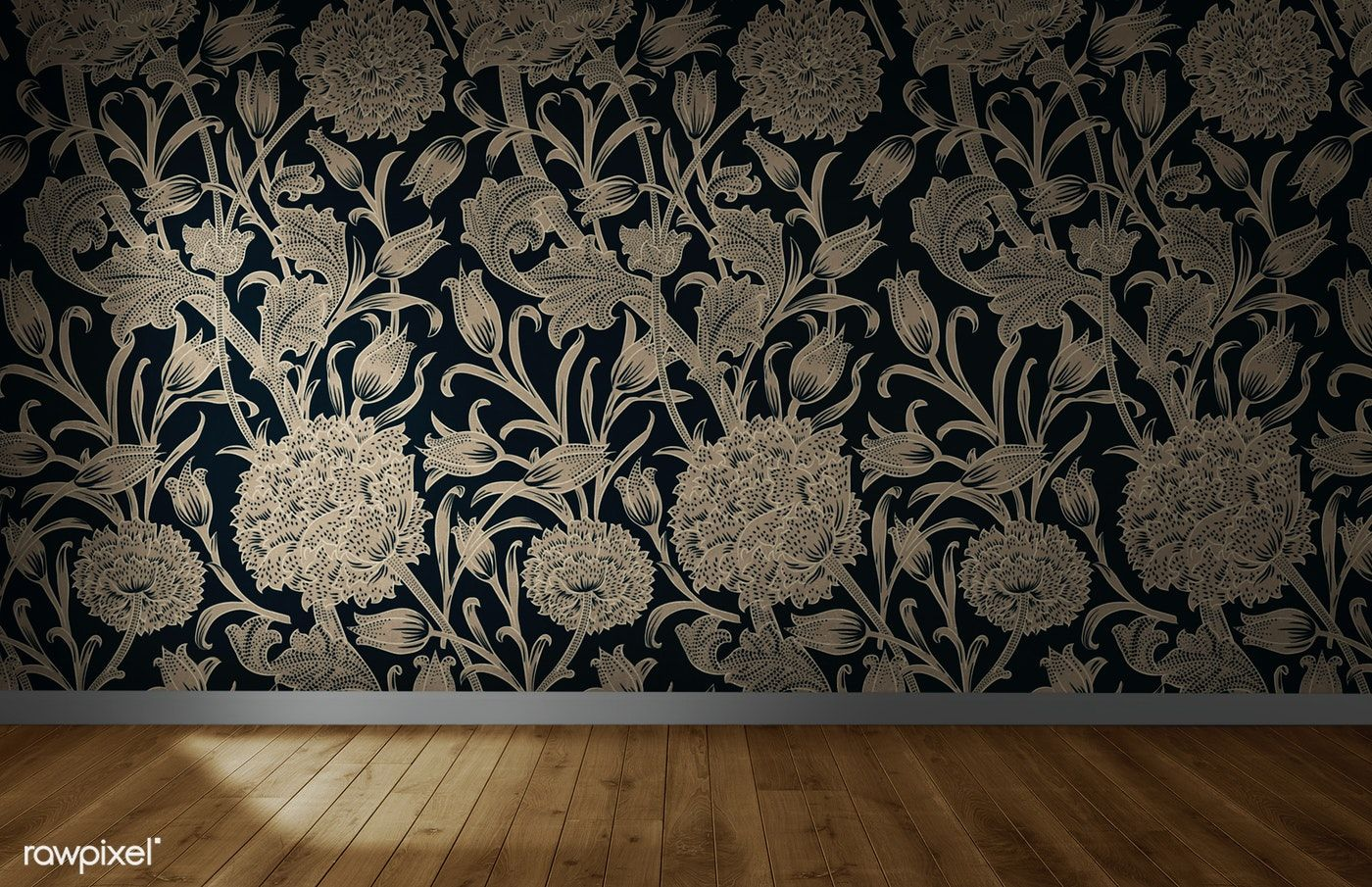 Download premium image of Floral wallpaper in an empty room
