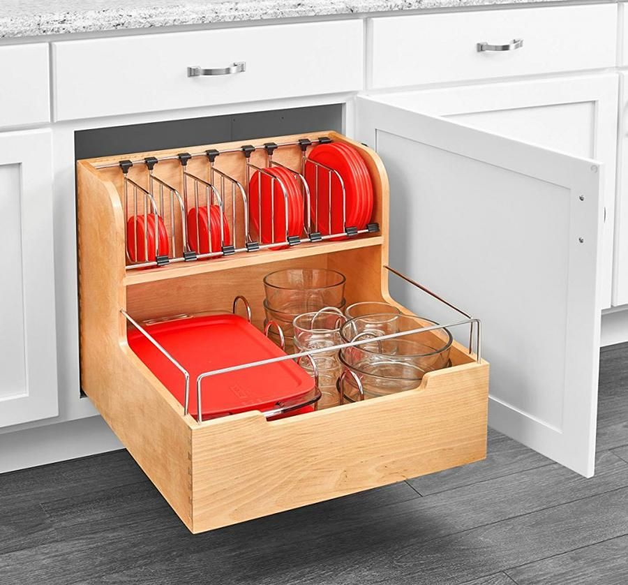 adjustable pull out cabinet drawer for organizing your tupperware food storage containers on kitchen organization tupperware id=56290
