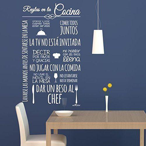 Vinilos cocina Normas Cocina 60X100 cm Texto en color