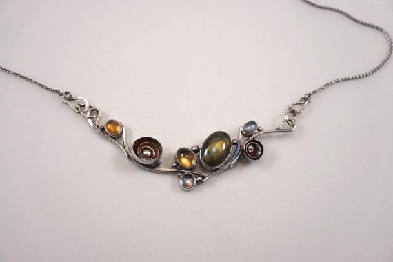 Springtime. Sterling Silver necklace with labradorite, Mexican fire opal, citrine, prasiolite and moonstone