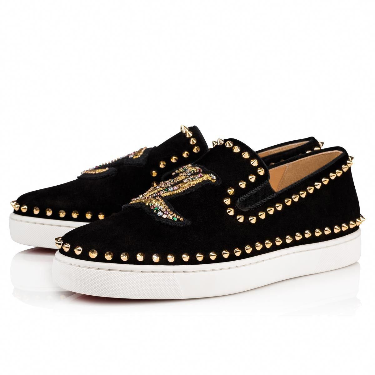 85abccb3d651 Pik Boat Cl Men s Flat Black Gold Suede - Men Shoes - Christian Louboutin   ChristianLouboutin