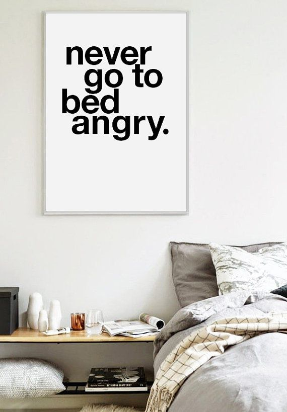 Never Go To Bed Angry Scandinavian Print Bedroom By Visualpixie
