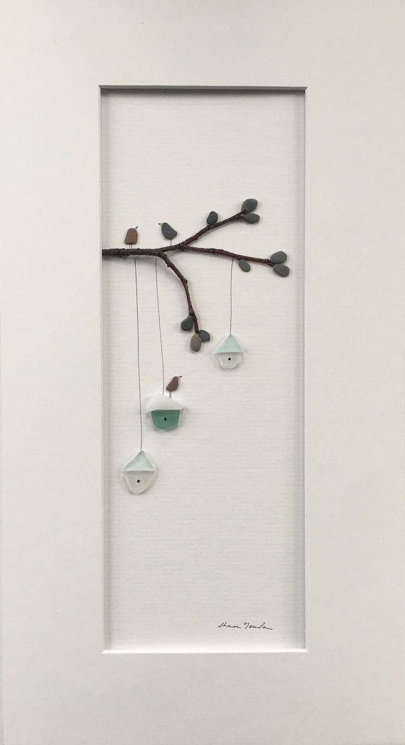 8 por 15 enmarcado arte guijarro y seaglass por por PebbleArt ...