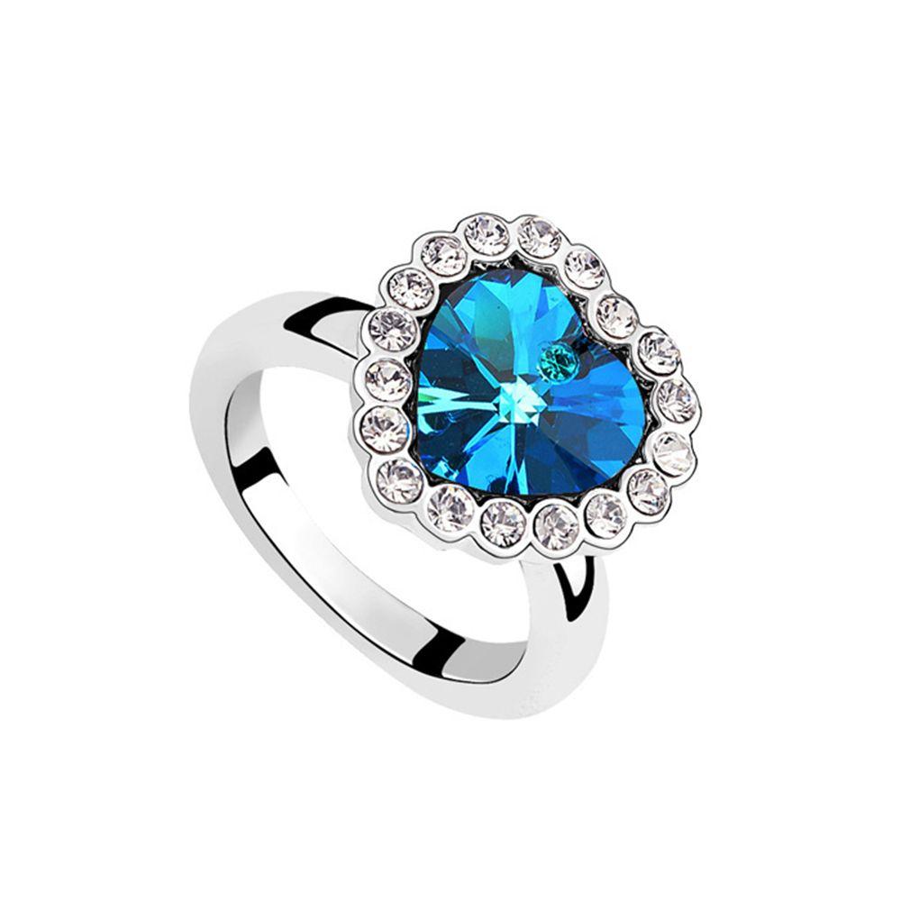 Aliexpress.com : Acquista 2016 Charming Classic Sapphire Cuore anello Con Cristalli SWAROVSKI 5 colors buona per il regalo Di Natale bijoux All'ingrosso da Fornitori anello all'ingrosso affidabili su Betti Jewelry