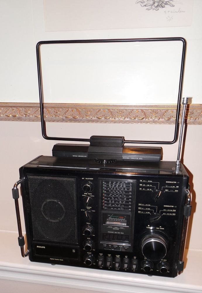 Rare Phillips Al 990 Worldband Receiver Rotational Antenna Short Wave Radio Grundig Shortwave Radio Ham Radio Antique Radio