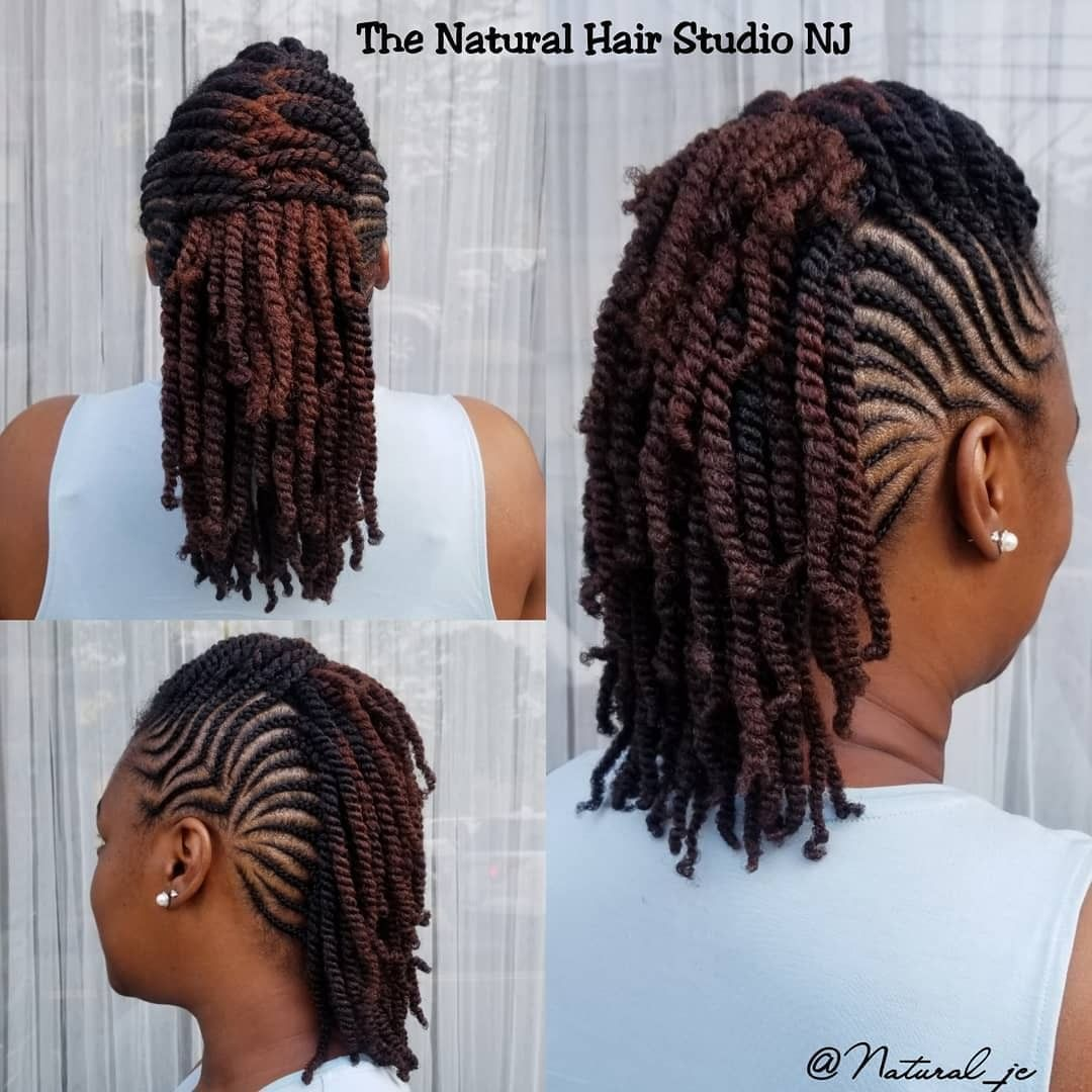 Cornrows Mohawk W Double Strand Twists I Natural Hair