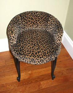 Leopard Print Vanity Chair Chaise Lounge Seat Living Room Accent Seat Vanity Chair Lounge Seating Living Room Accents