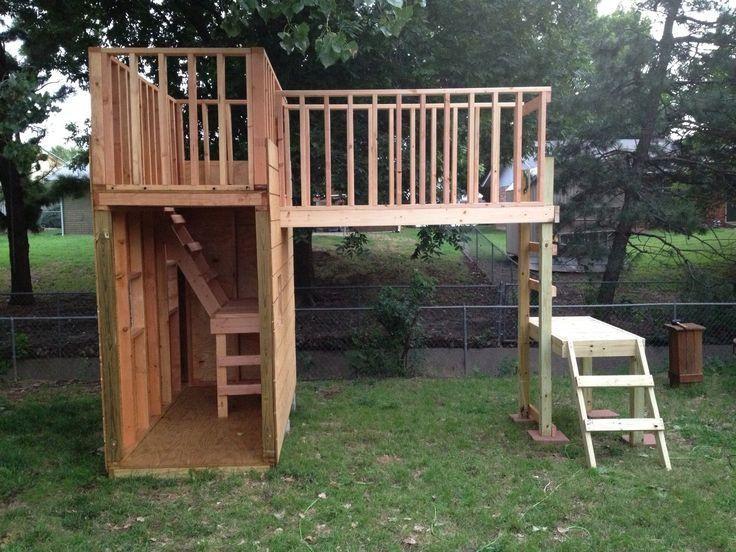 Great kids wooden fort backyard fort treehouse for Kids wooden treehouse