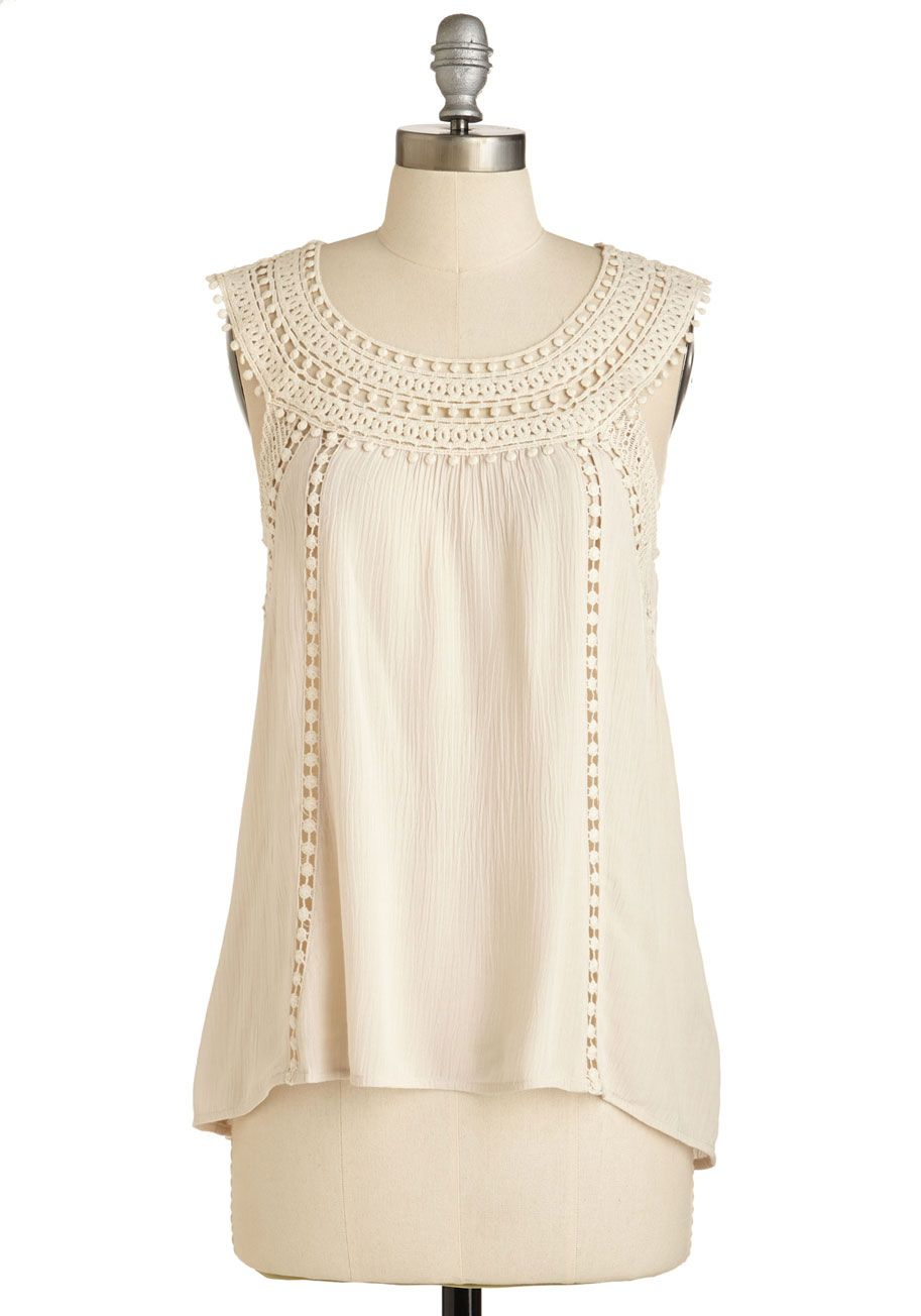 Hammock It Up Top - Mid-length, Sheer, Woven, Cream, Solid, Crochet, Casual, Boho, Vintage Inspired, 70s, Festival, Sleeveless