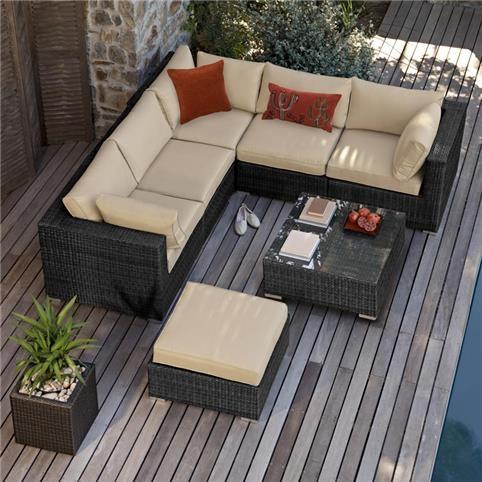 Maze Rattan - London Corner Sofa Set - Black | White Stores | Home ...