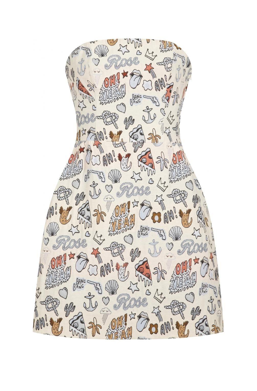69db0c0c4ffd1 Robe bustier jacquard ludique imprime - robes femme - naf naf 1 ...