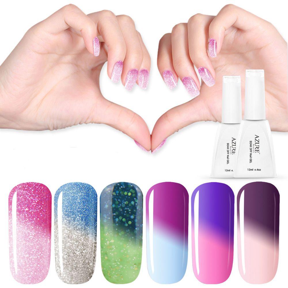 Azul Más Nuevo Color de Esmalte de Uñas de Gel UV de Color Cambio de ...