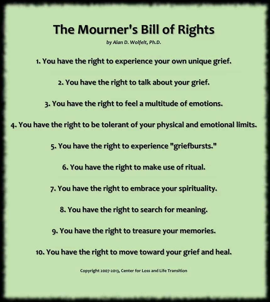 have the kids make their own bill of rights for grieving grief