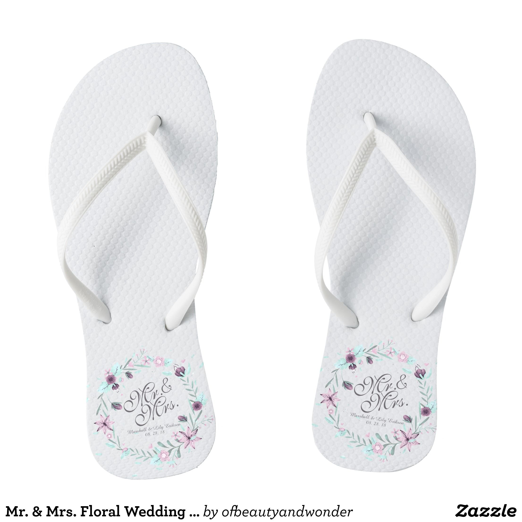 6354624a767c Mr.   Mrs. Floral Wedding Flip Flops - Durable Thong Style Hawaiian Beach  Sandals By Talented Fashion   Graphic Designers -  sandals  flipflops   hawaii ...