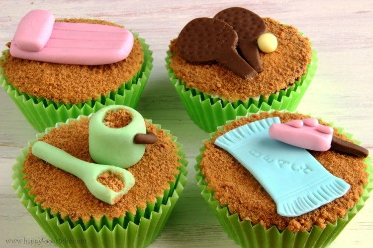 Beach Themed Fondant Cupcake Cake Decorations Beach Cakes Cake