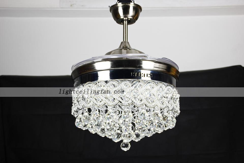 42inch Retractable Crystal Chandelier Led Ceiling Fans With Remote Decorative Ceiling Fans Ceiling Fan Chandelier Chandelier Fan