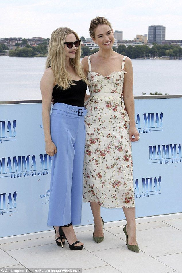 f454258132 Lily James wows in floral pencil dress at Mamma Mia 2 event in Germany