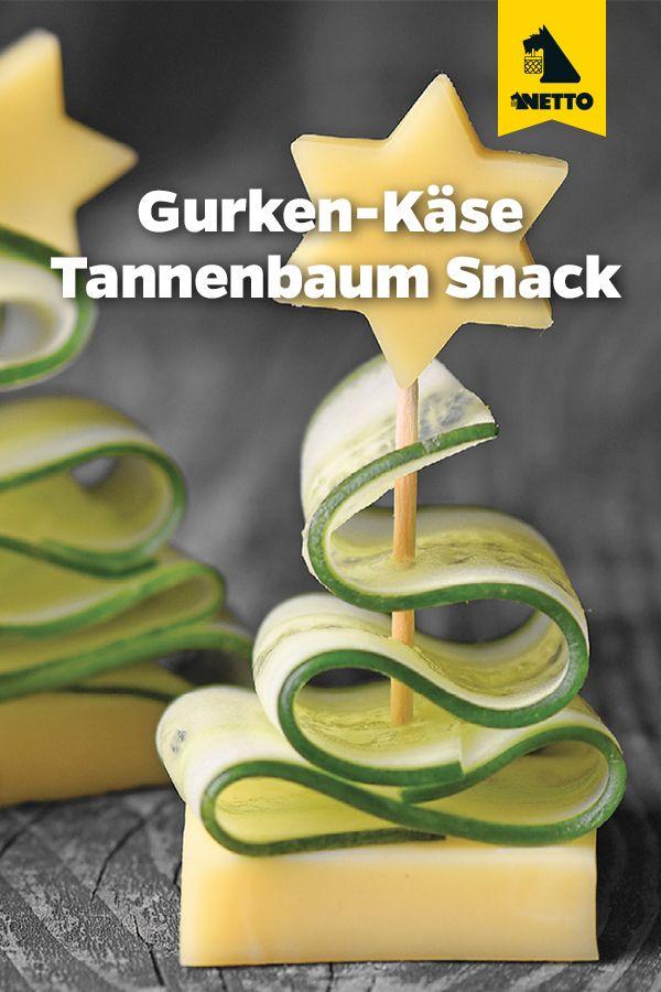 GURKEN-KÄSE-SNACK ALS TANNENBAUM #fingerfoodweihnachten