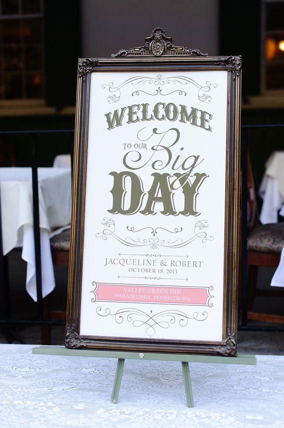 Custom Wedding Welcome Sign Welcome to Our Big by SangriaStudios, $30.00 #wedding #welcomesign #bigday