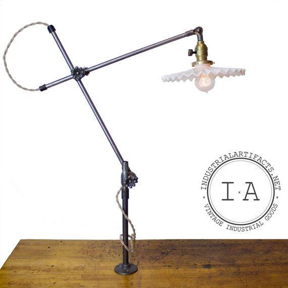 Original Complete Oc White Articulating Lamp W Milk Glass Petticoat Or Enamel Helmet Shade Vintage Industrial Vintage Light Fixtures Milk Glass