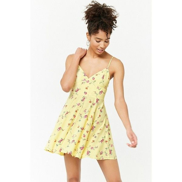 de3af309154f2 Forever 21 Floral Cami Mini Dress Light Yellow/multi ($20) ❤ liked on  Polyvore featuring dresses, forever 21 dresses, floral mini dress, v neck  dress, ...