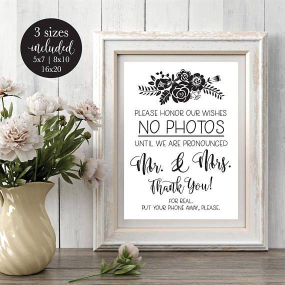 No Ceremony Just Reception: Please No Photos Wedding Sign, Printable Rustic #weddings