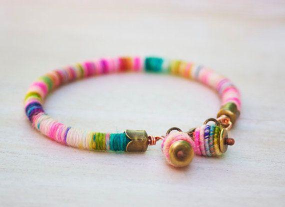 rope bracelet with handmade copper textile beads by jimenasjewelry, $19.00