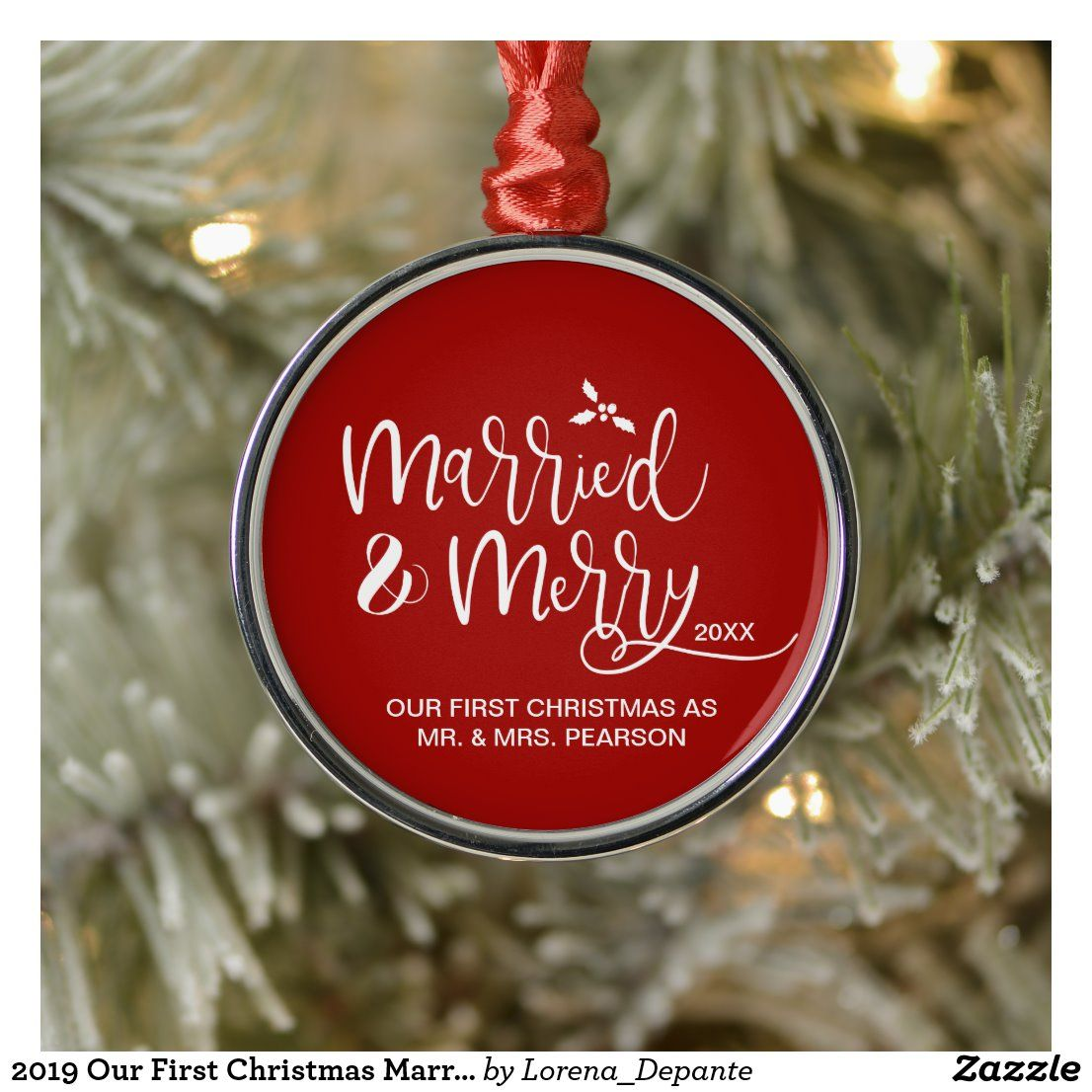 2020 Our First Christmas Married Merry Red Metal Ornament