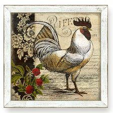 Urban Farmhouse French Country Rooster I Framed Painting Print