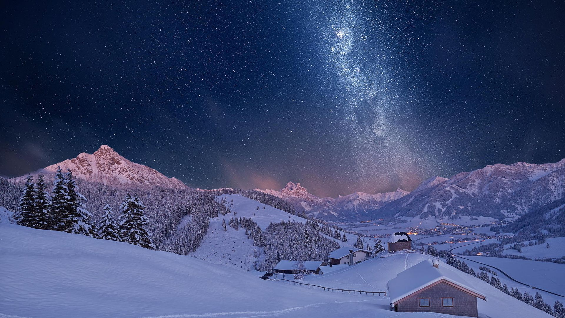 Beautiful Night Winter HD desktop wallpaper Widescreen