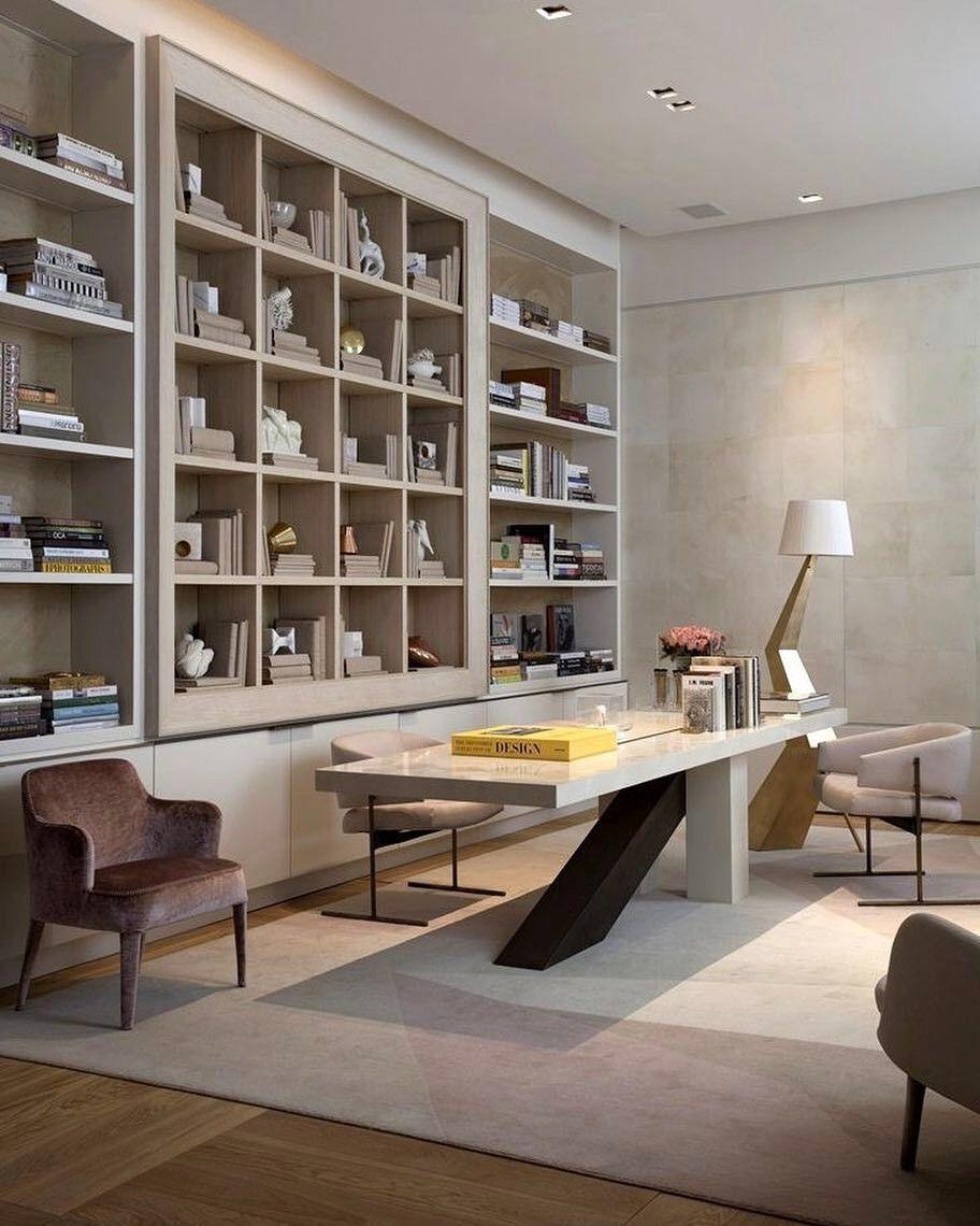 Todos Nosotros Quiermos Tener Un Espacio De Lujo Para Trabajar Y Para Recebir Los Invitad Decoracion De Interiores Biblioteca Y Escritorio Diseño De Interiores