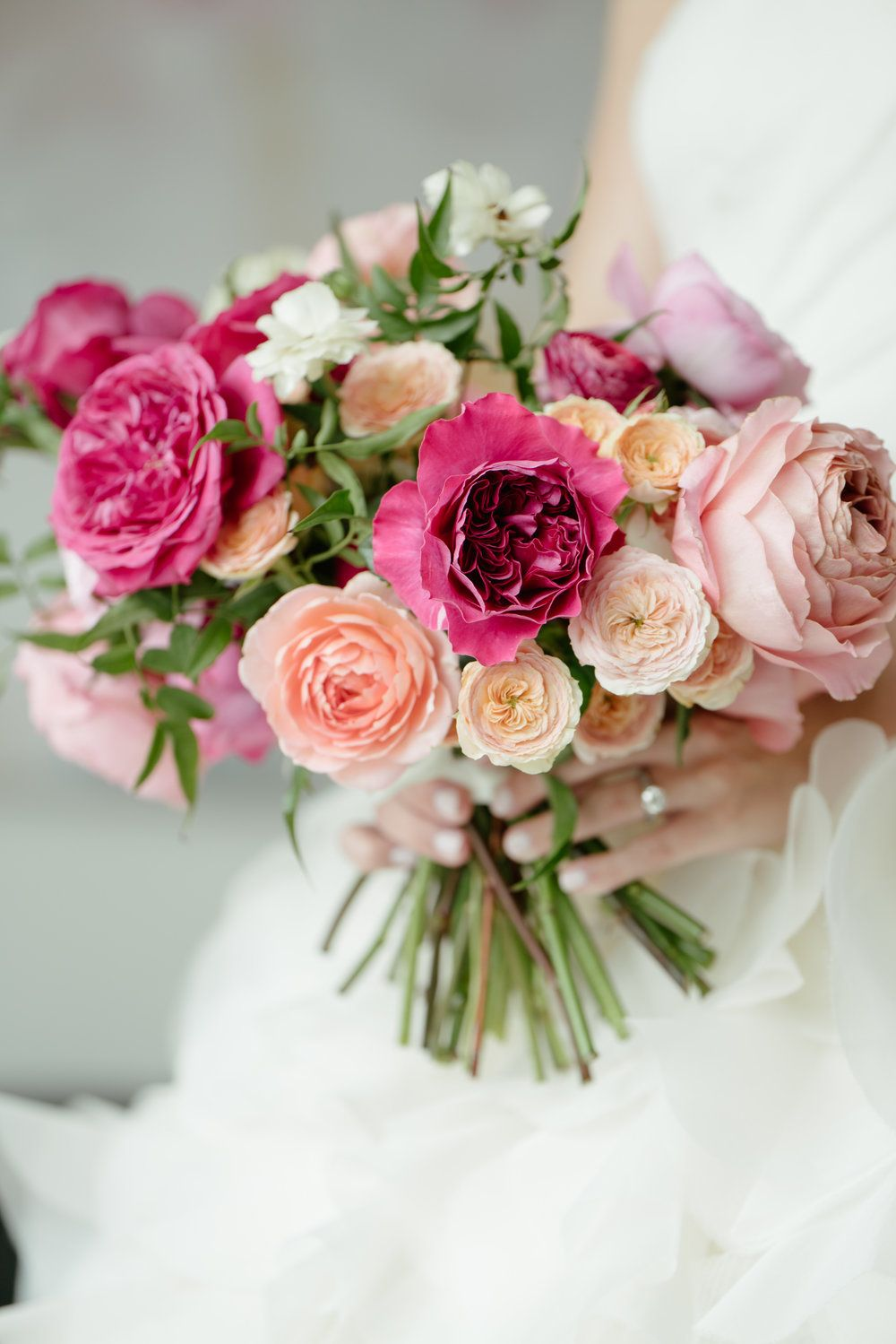Bridal Bouquet Bright Colored Wedding Flower Garden Roses Coral Peach Hot Pink Bridal Cheap Wedding Flowers Wedding Bouquets Pink Hot Pink Wedding Flowers