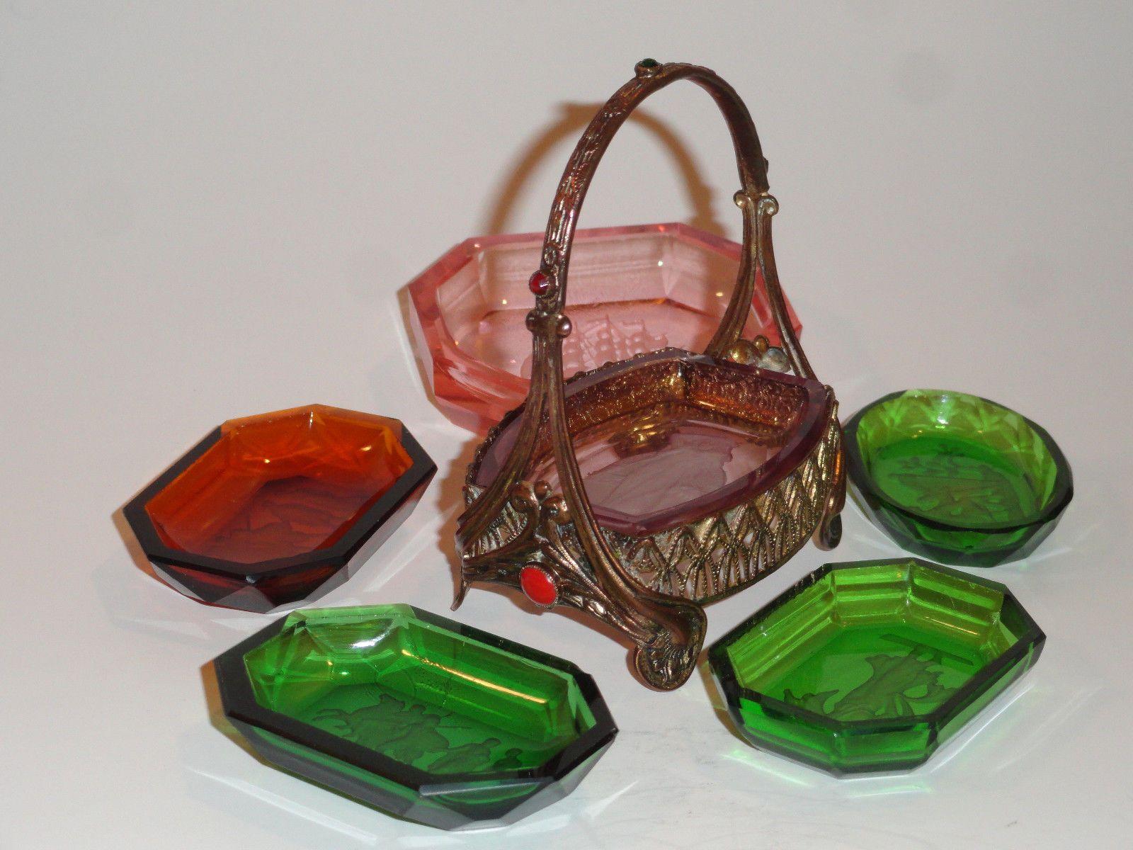 Vintage Glass Intaglio Trinket Pin Dish Tray Boy and Bird