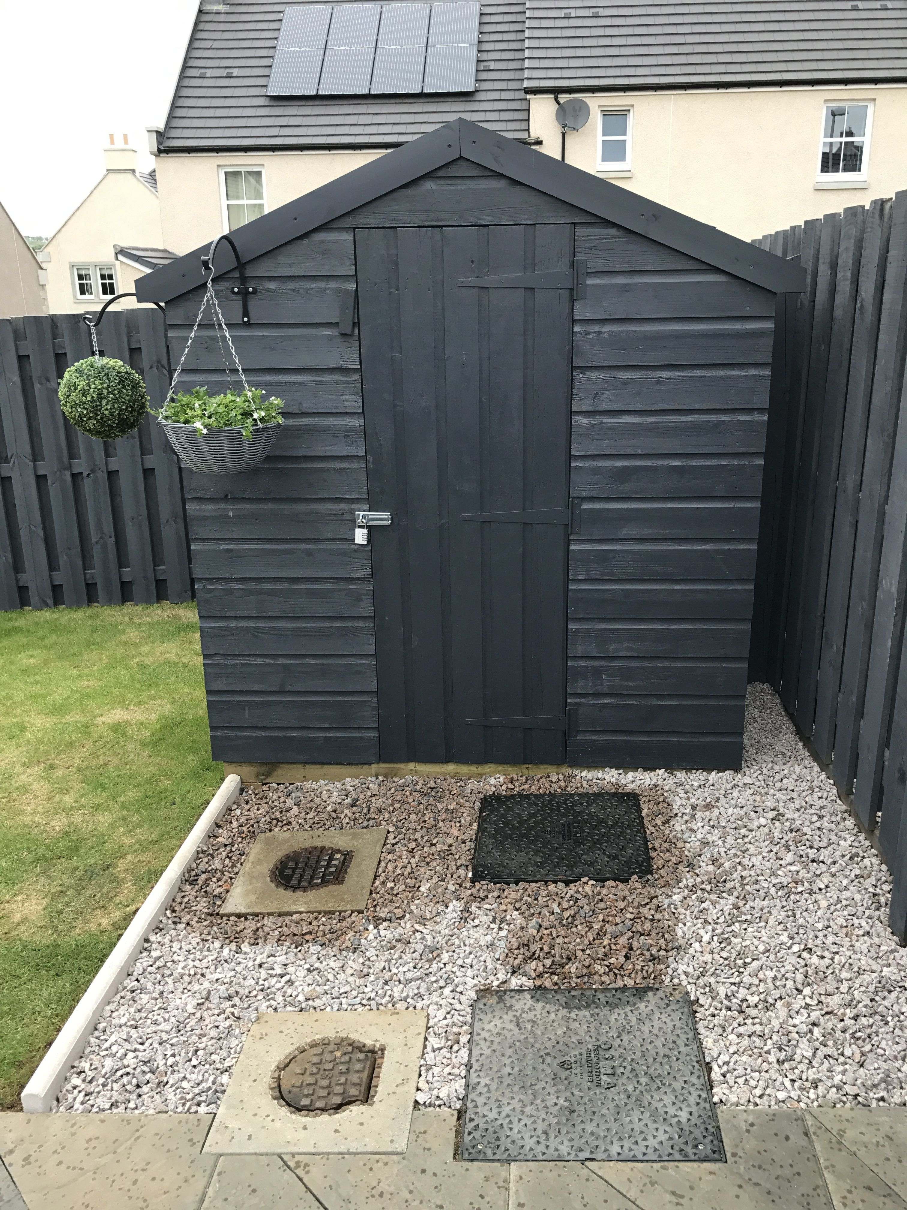 Shed Painted With Cuprinol Garden Shades In Urban Slate Painted Garden Sheds Cuprinol Garden Shades Garden Fence Paint